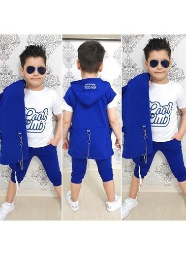 Quzucuk Kids Erkek Çocuk Kapşonlu Kaprili Yazlık Takım Renkli